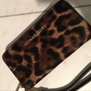 Michael Kors leopard wristlet wallet calfskin